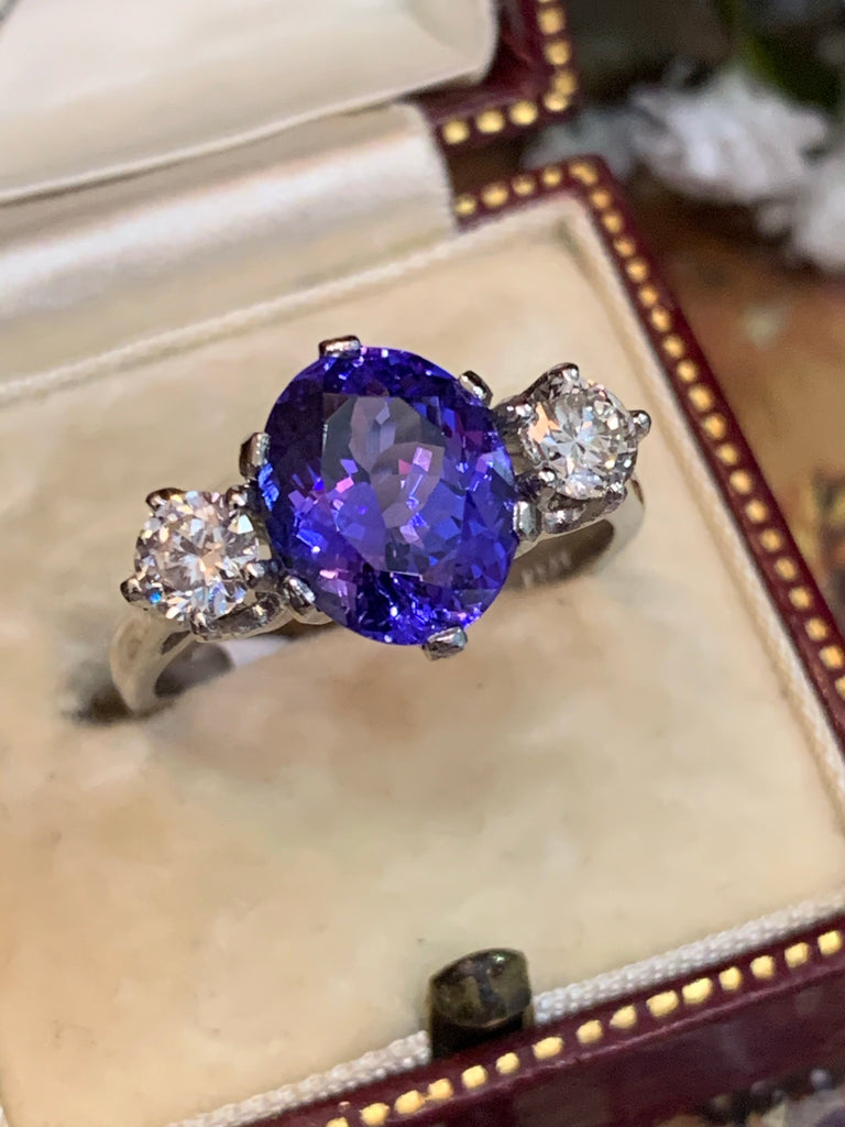 3.3 Tanzanite and Diamond 3-Stone Ring