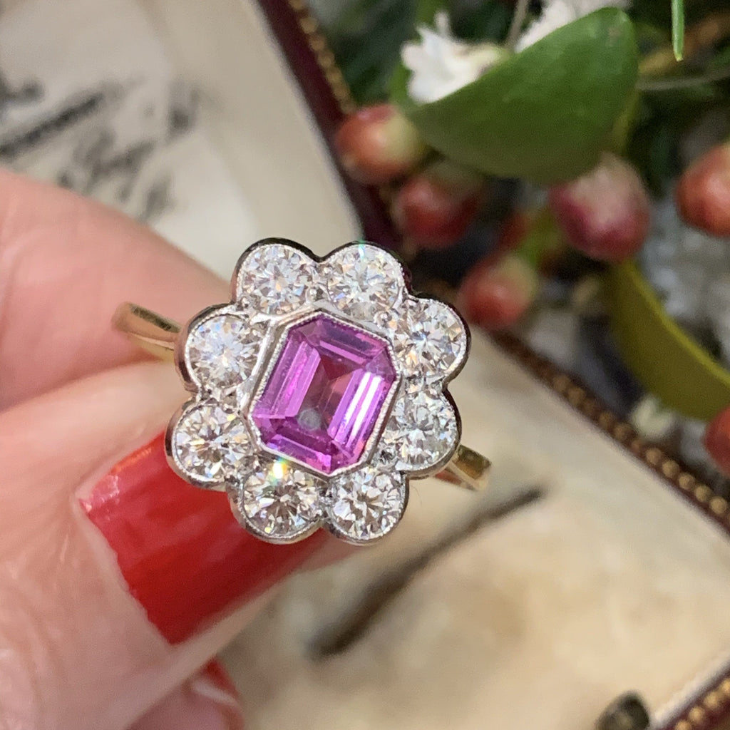 1.00 Carat Pink Sapphire and Diamond Halo Ring in 18K White and Yellow Gold