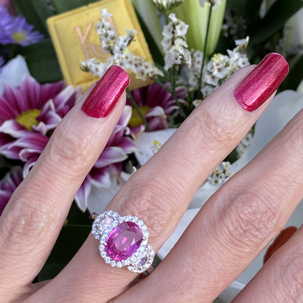 2.87 Carat Oval Cut Pink Sapphire and Diamond Engagement Ring in White Gold