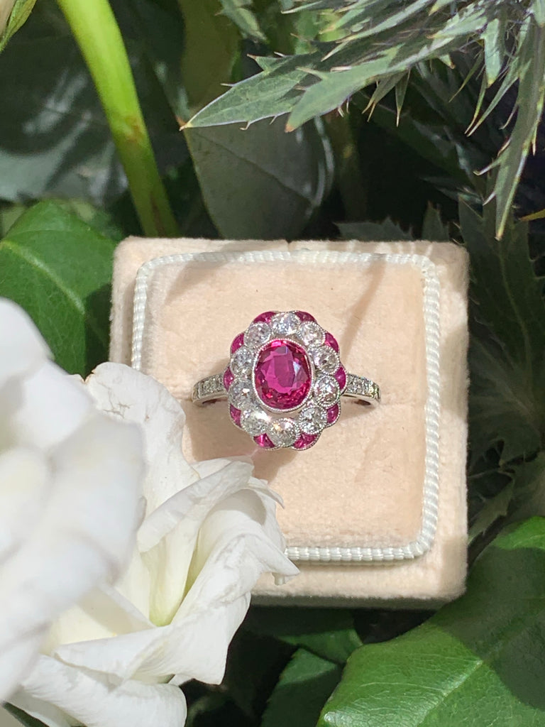 1.02 Carat Ruby and Diamond Ring in Platinum