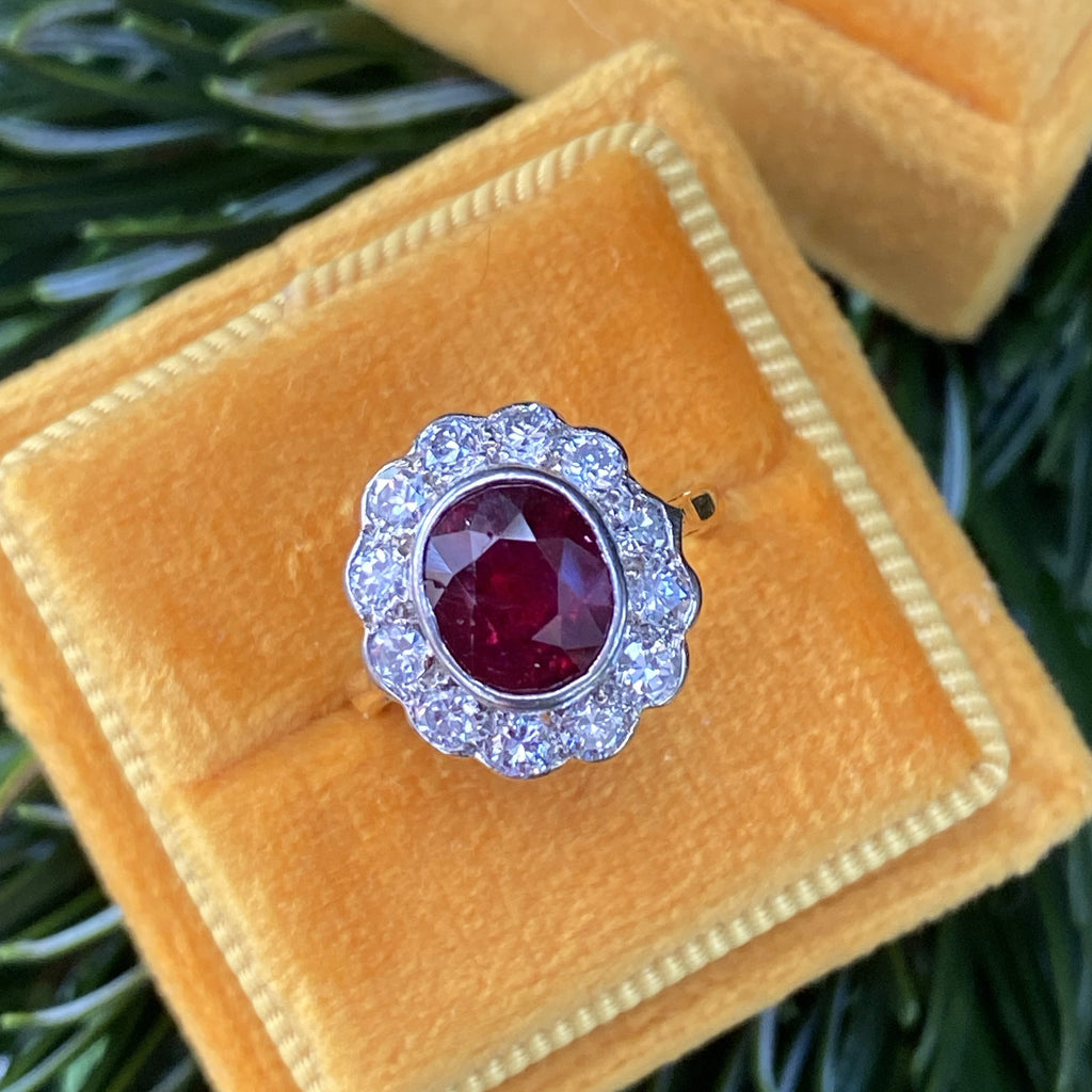 1.96 Carat Antique No Heat Ruby and Diamond Ring