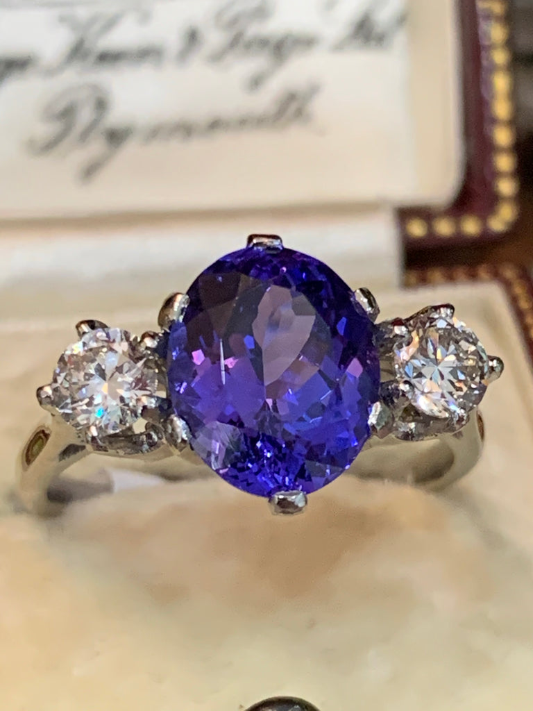 Stunning Tanzanite and Diamond Three Stone Ring