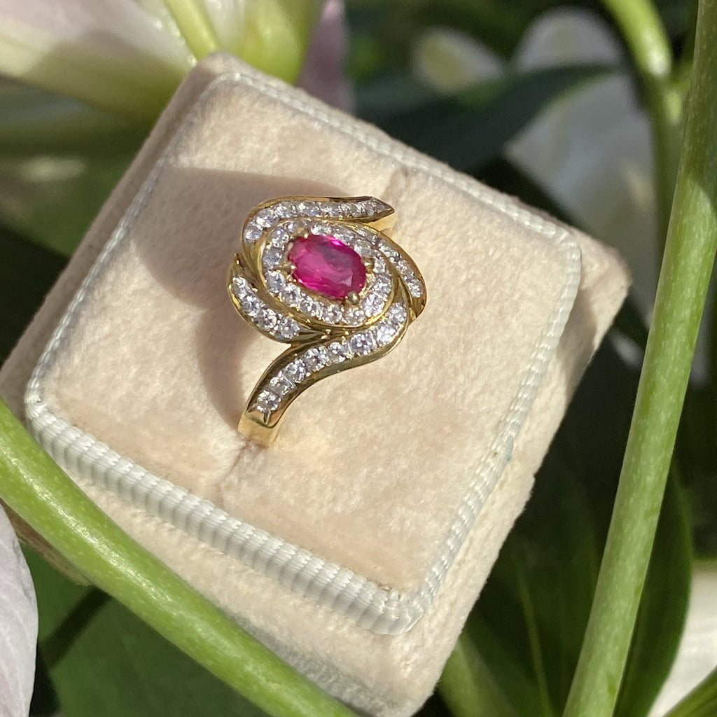 0.50 Oval Ruby and Diamond Ring in 18K Yellow Gold