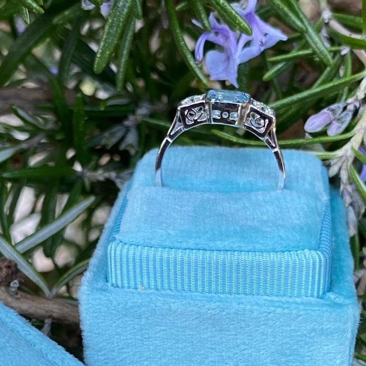 0.90 Carat Aquamarine and Diamond Three-Stone Ring in Platinum