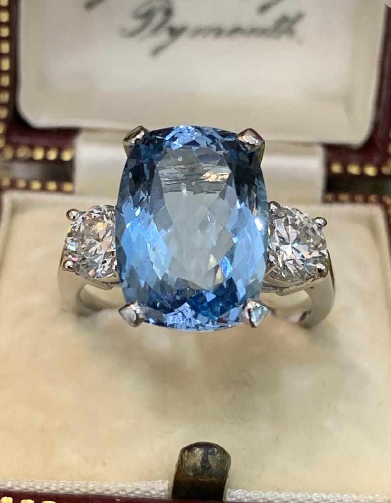6.4 Carat Aquamarine and Diamond Ring in Platinum