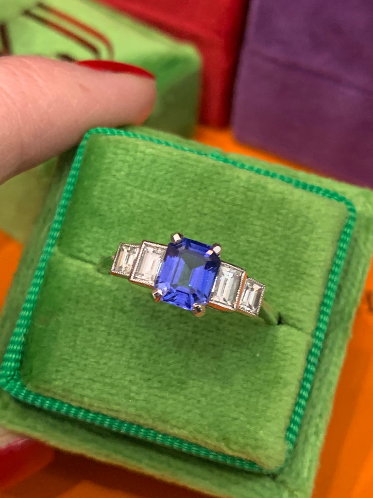 Rich Sapphire and Diamond Ring