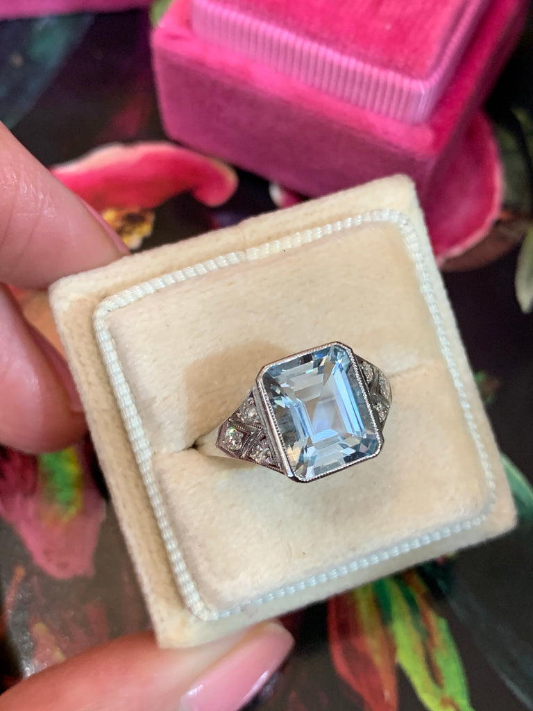 3 Carat Aquamarine and Diamond Art Deco Ring in Platinum