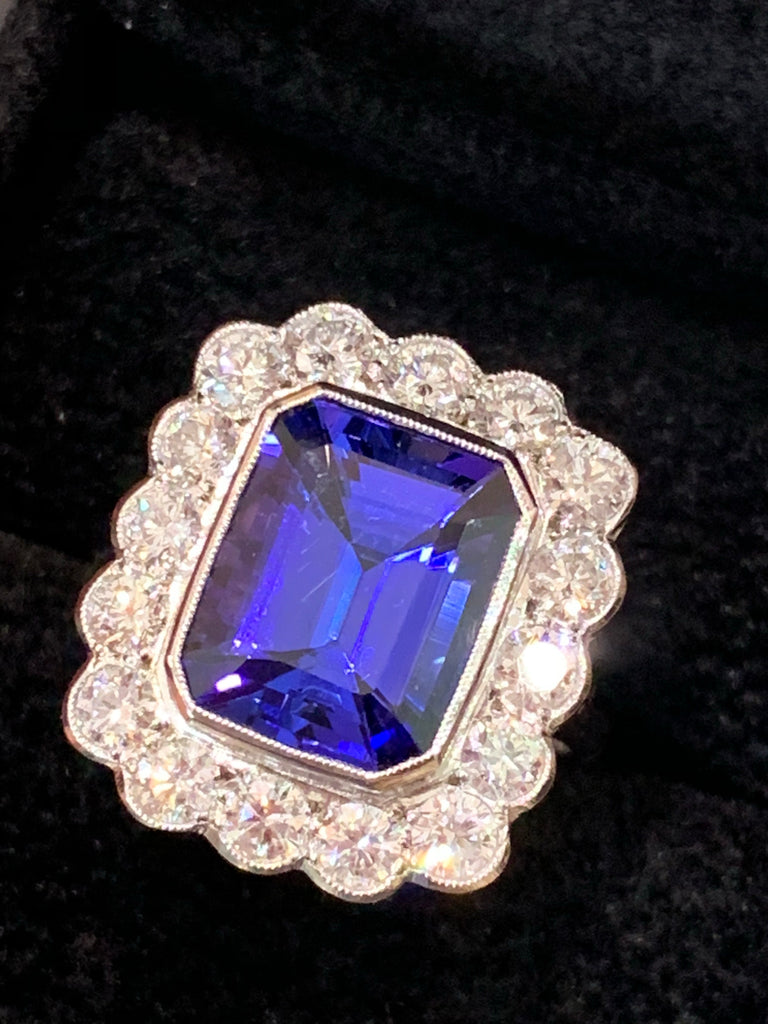 4.86 Tanzanite and Diamond Cluster Ring in Platinum