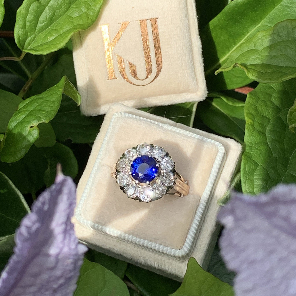 3.00 CTW Antique Edwardian Blue Sapphire and Diamond Halo Ring in 18K Gold