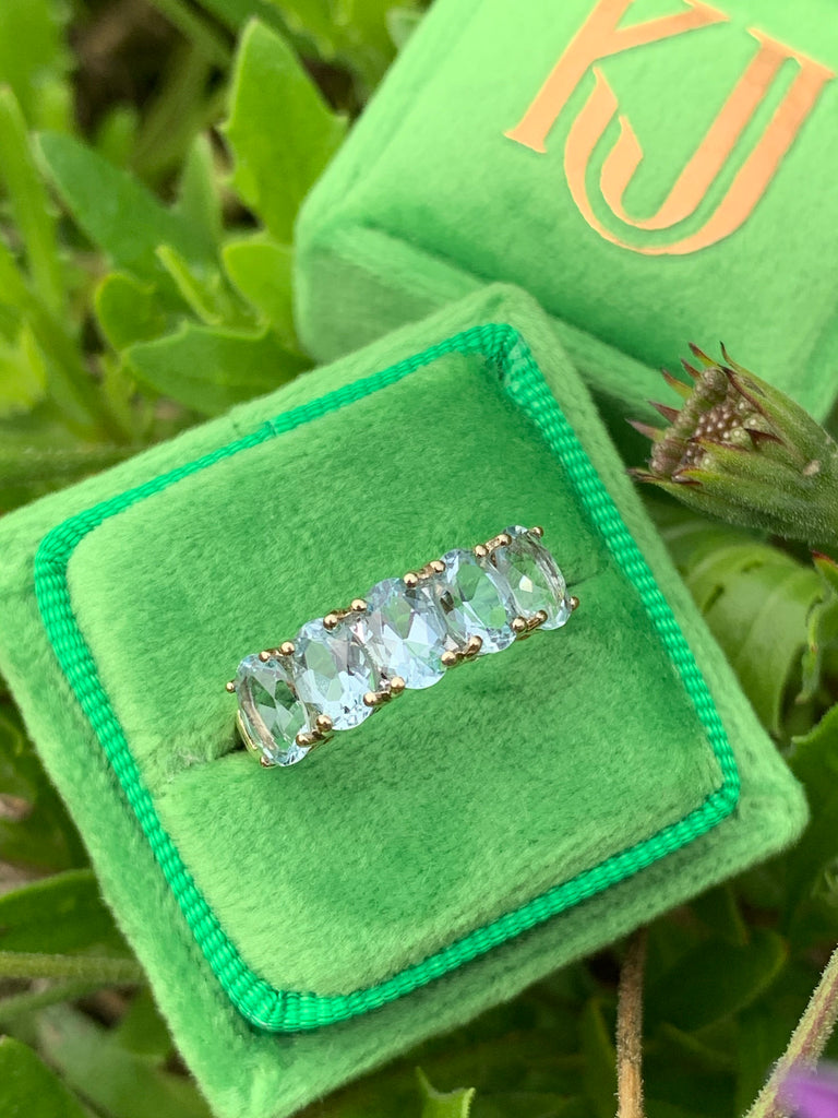 Stunning Aquamarine Five Stone Eternity Ring