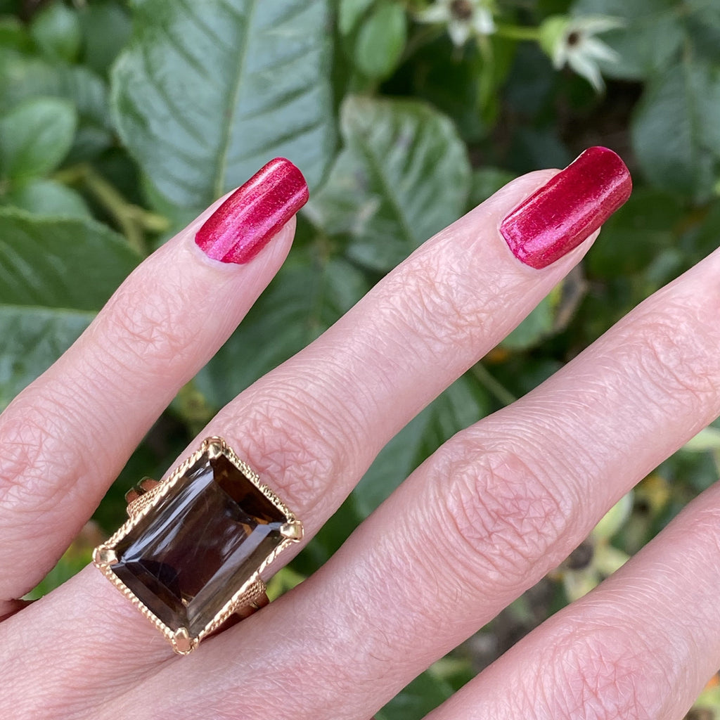 Vintage Dark Citrine Cocktail Ring in Handmade 18ct Yellow Gold