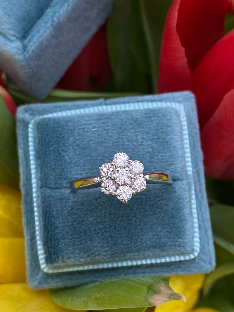 0.50 CTW Diamond Cluster Flower Engagement Ring in White Gold