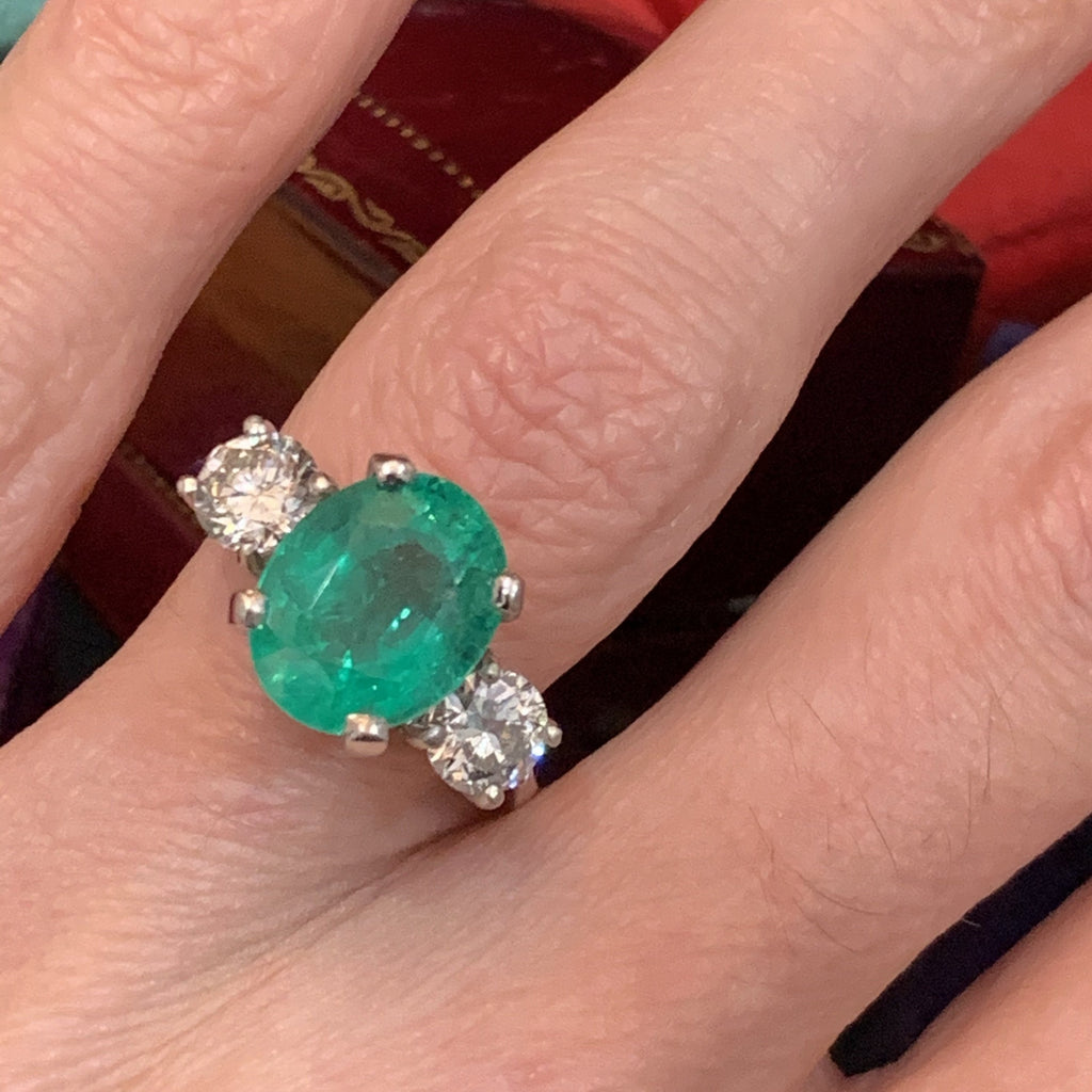 4.06ct Colombian Emerald and Diamond Ring