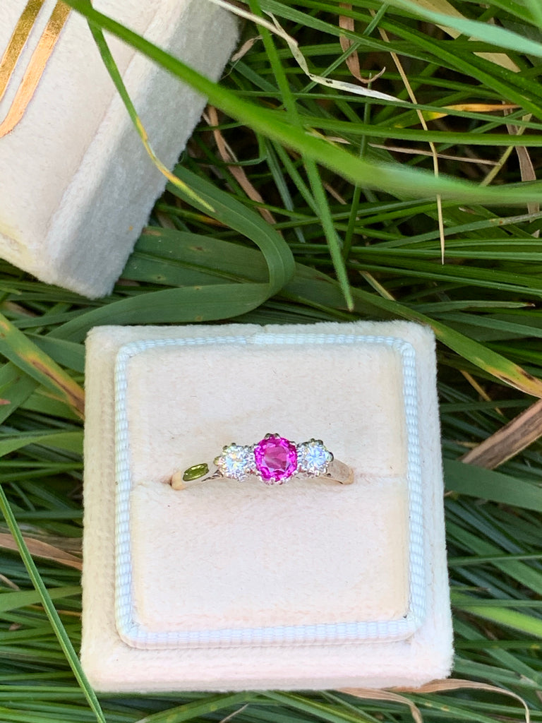 Pink Sapphire and Diamond Trilogy Ring in 18K and Platinum