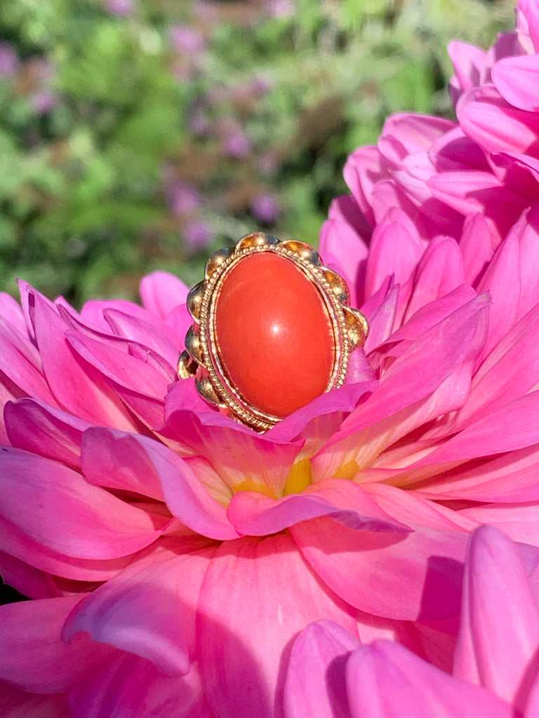 Vintage Coral Ring in Yellow Gold Katherine James Jewellery