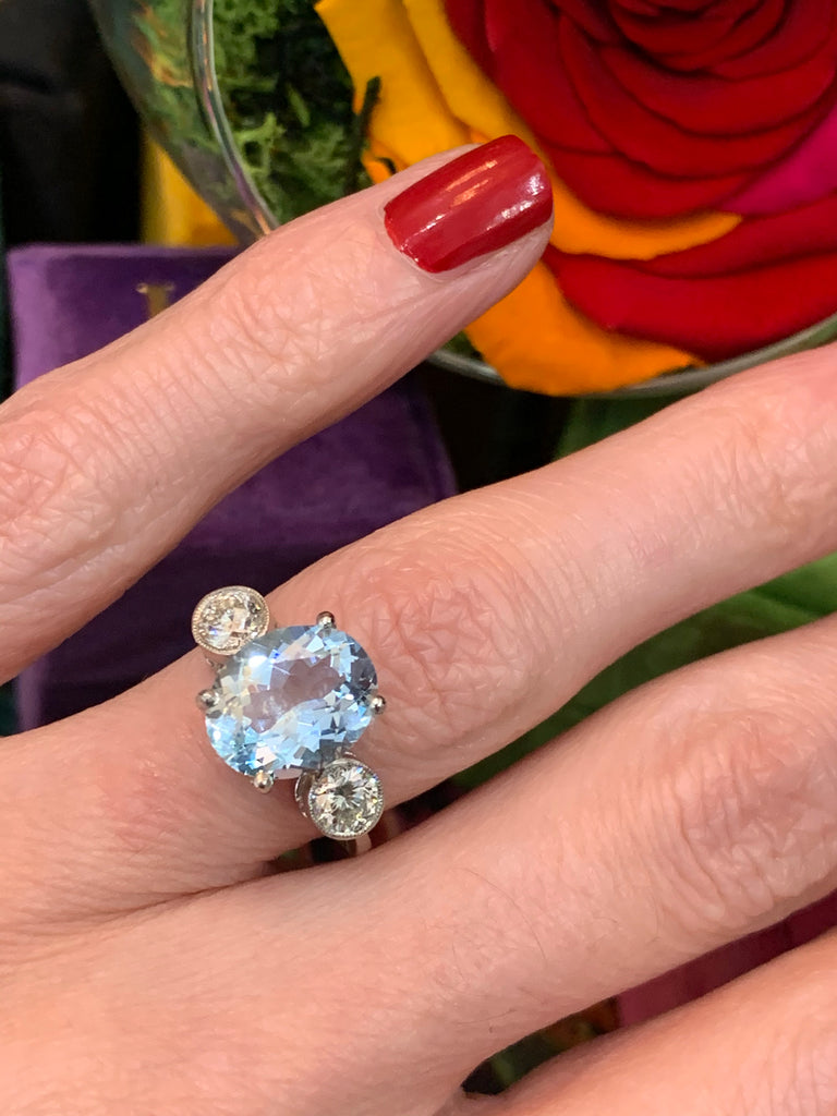 3.00 Carat Aquamarine and Diamond Three-Stone Ring in Platinum