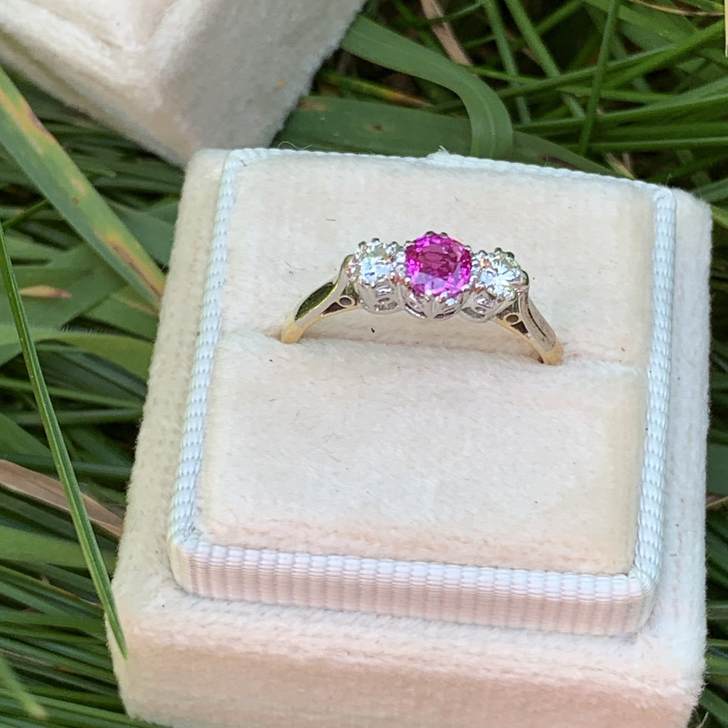 Pink Sapphire and Diamond Trilogy Ring in 18K Yellow Gold and Platinum