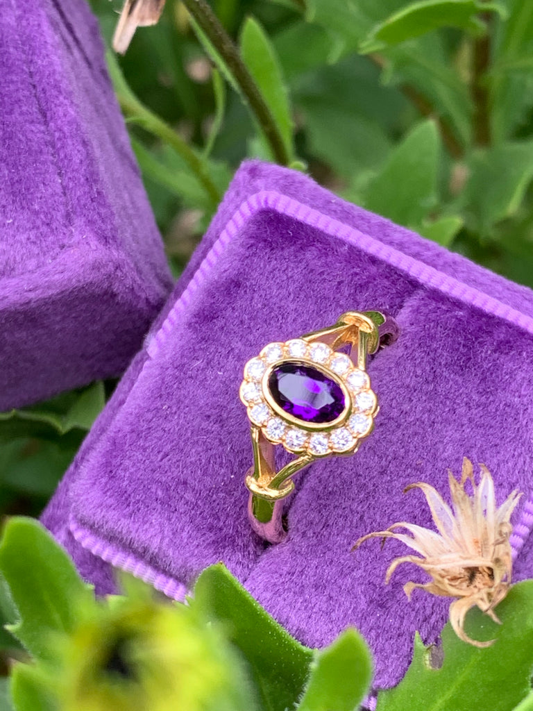 Amethyst and Diamond Daisy Ring in 18ct Yellow Gold