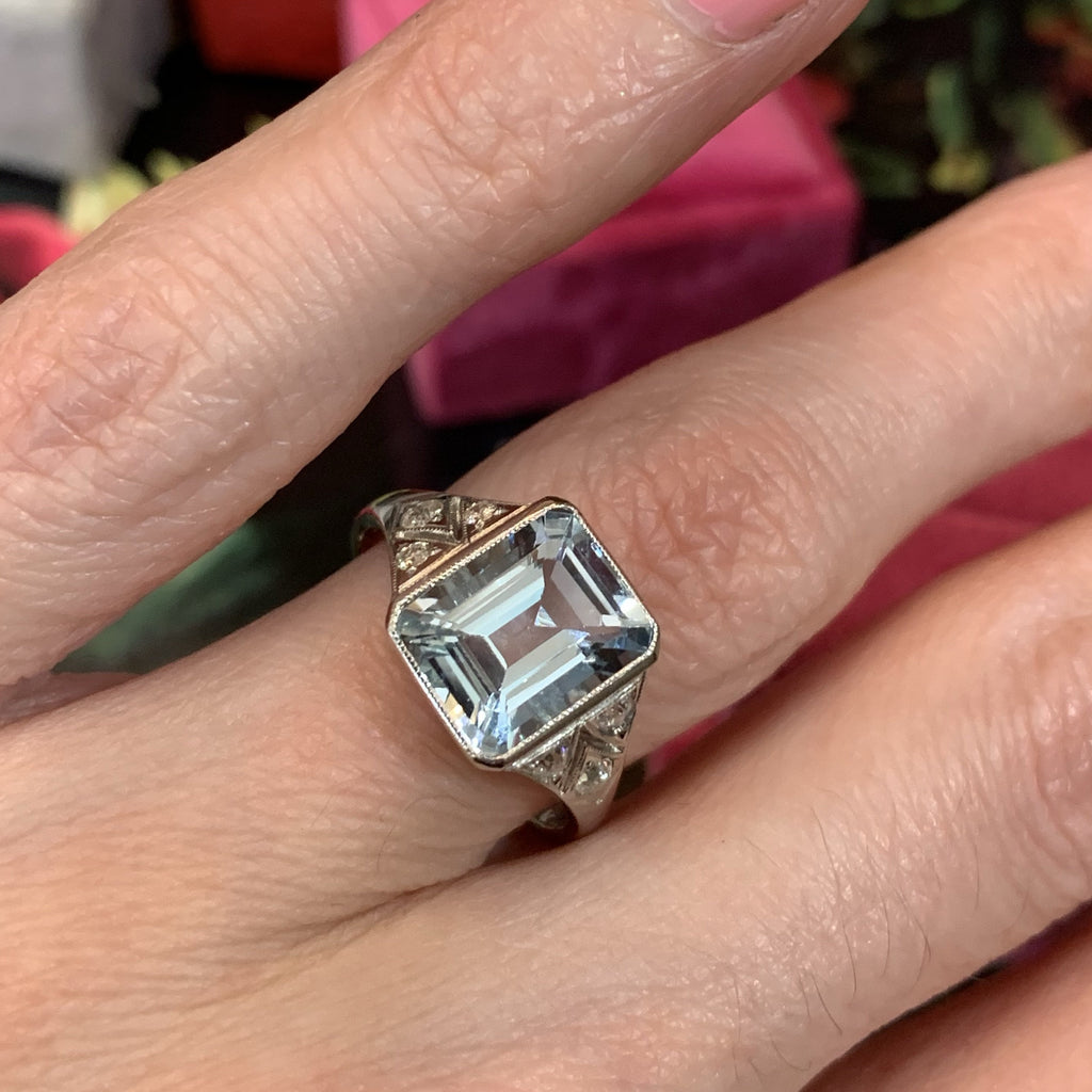3 Carat Aquamarine and Diamond Ring
