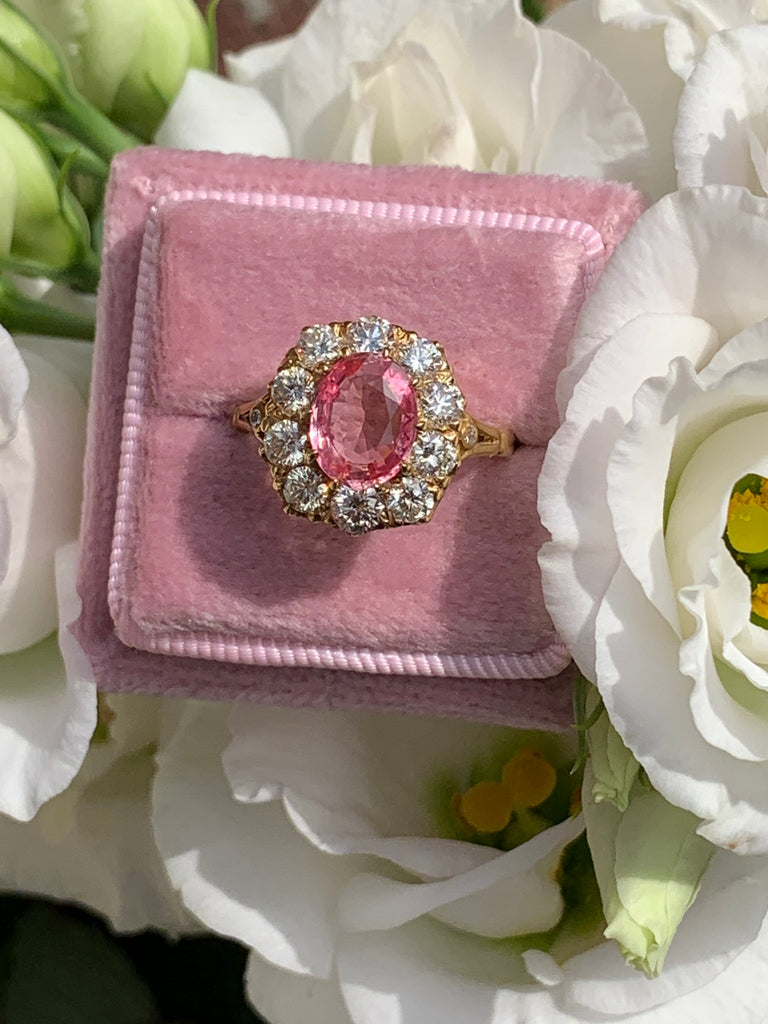 2.05 Carat Pink Sapphire and Diamond Ring in 18K Yellow Gold