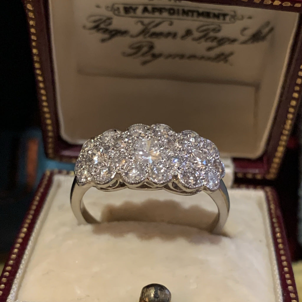 Beautiful Diamond Cluster Trilogy Ring