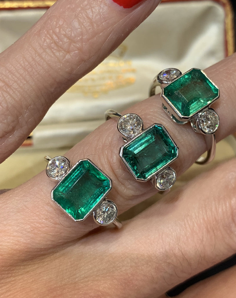 2.20 Carat Emerald and Diamond Three Stone Ring in Platinum