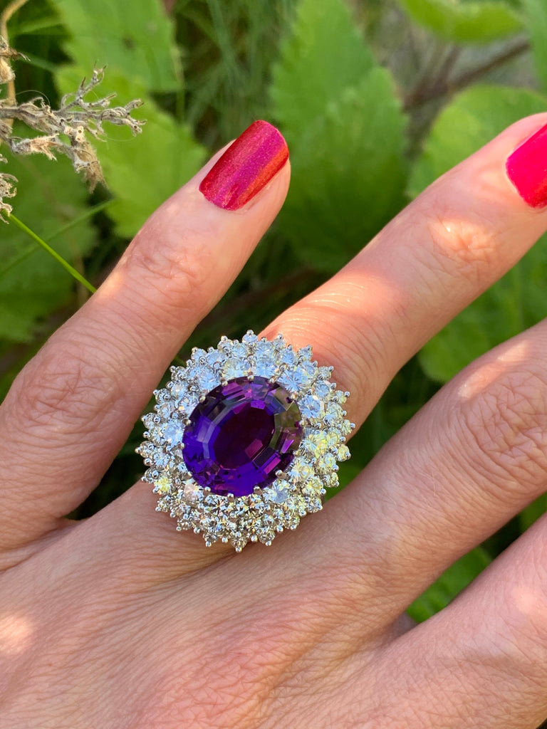 7.30 Carat Amethyst and Diamond Halo Ring in 18K White Gold