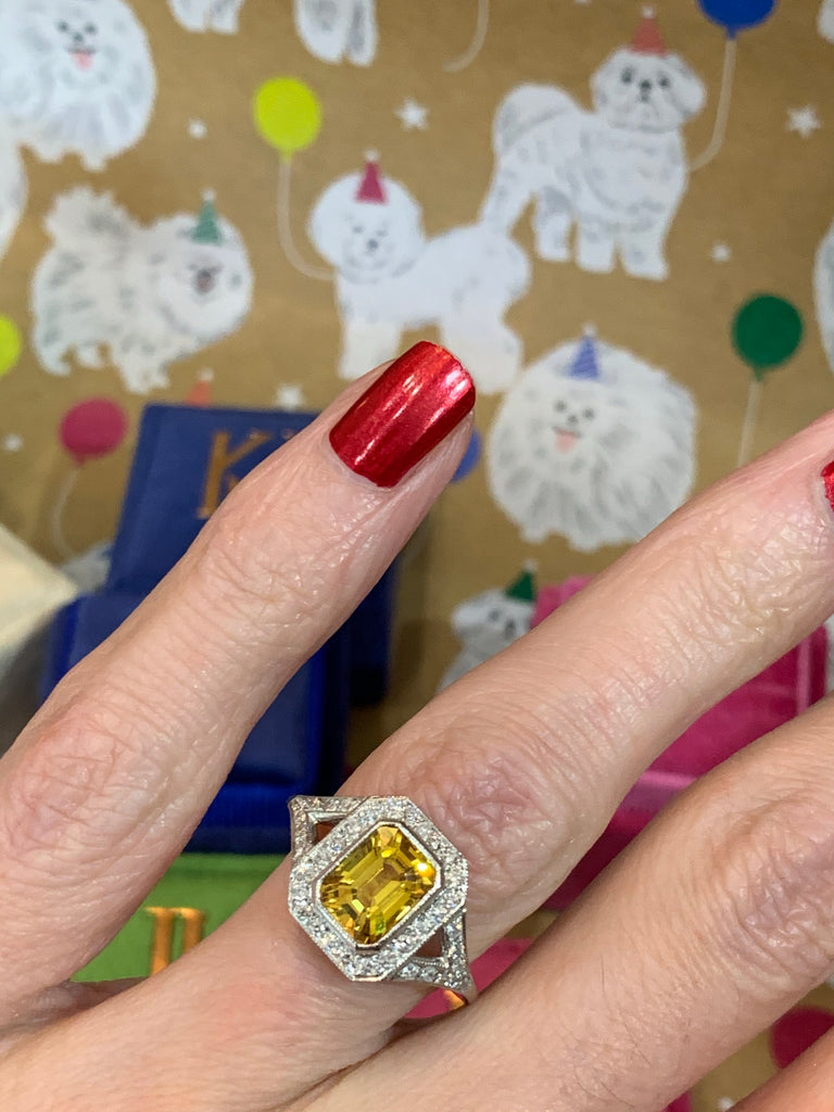 Glorious Yellow Sapphire and Diamond Cluster Ring