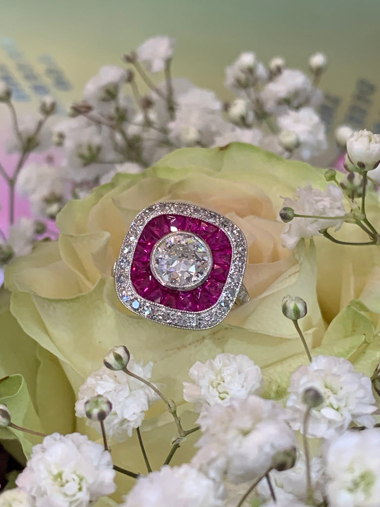 1.10 Carat Old Euro Cut Diamond and Ruby Halo Ring in 18K White Gold