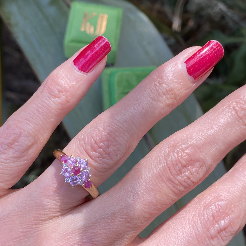 Ruby, Pink Sapphire and Diamond Floral Cluster Ring in Yellow Gold