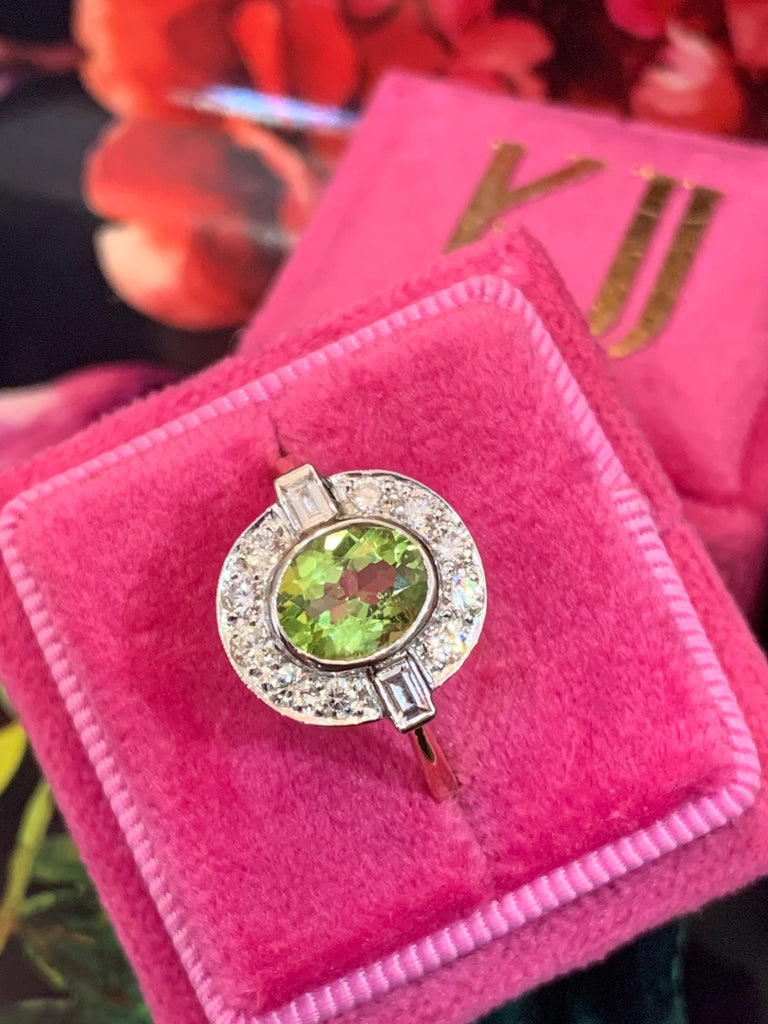 Wonderful Peridot and Diamond Ring