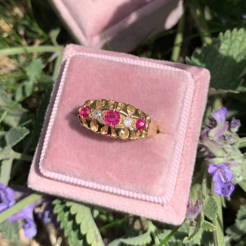 Antique Ruby and Diamond Eternity Ring in 18K Gold