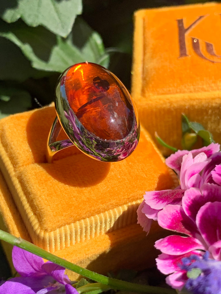 Danish Vintage Willy Jagert Amber Gold Ring