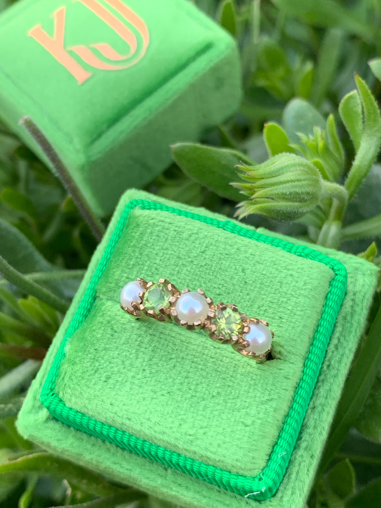Beautiful Peridot and Pearl Eternity Ring