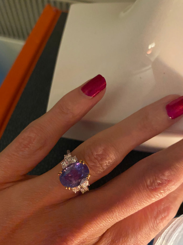 4.98 Carat Colour Change Ceylon Sapphire and Diamond Ring in 18ct Gold