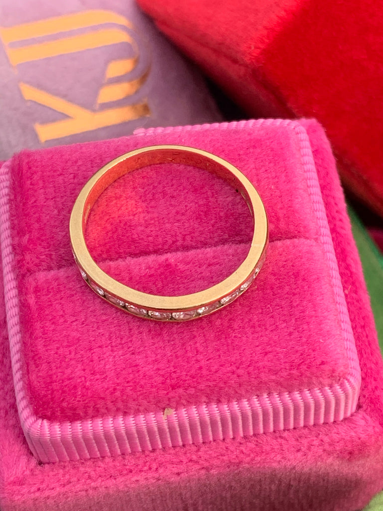 0.35 CTW Channel Set Half Eternity Ring in 18K Yellow Gold