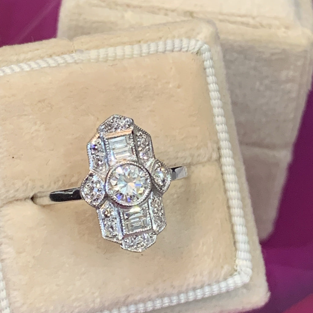 0.80 Carat Diamond Art Deco Ring in Platinum