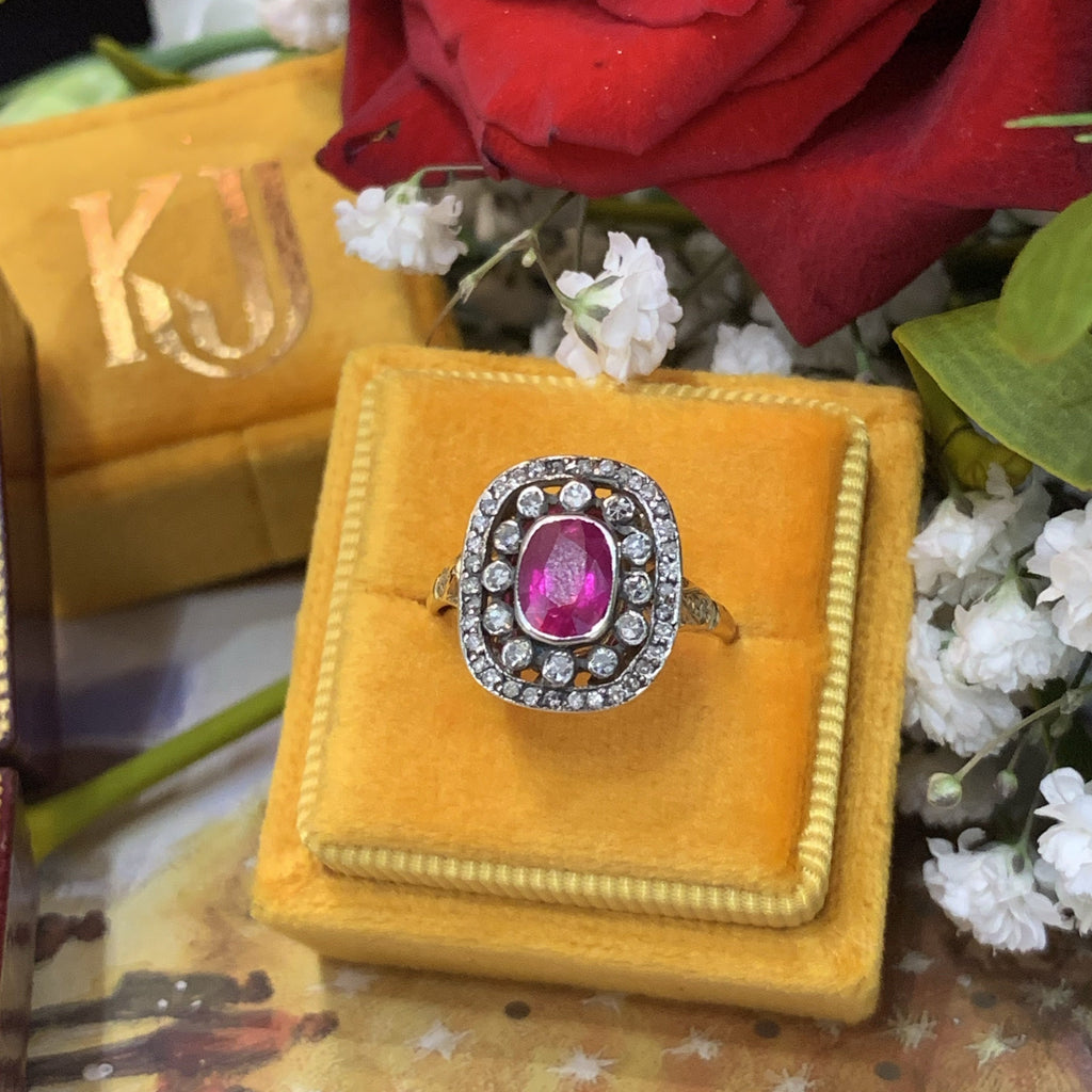 1.00 Carat Ruby and Diamond Halo Ring in Silver and 18K Gold