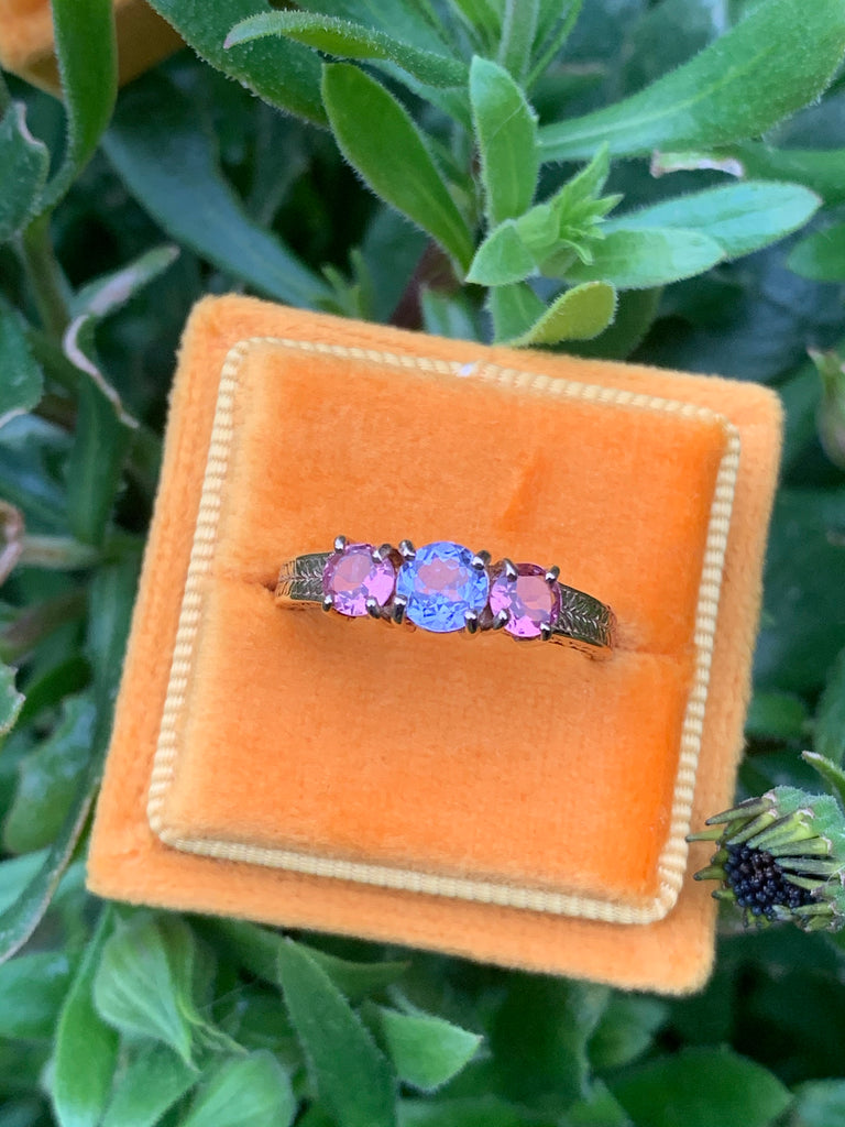Beautiful Pink and Blue Sapphire Trilogy Ring