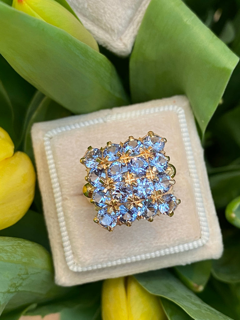 Beautiful Aquamarine Cluster Ring in 18ct Yellow Gold