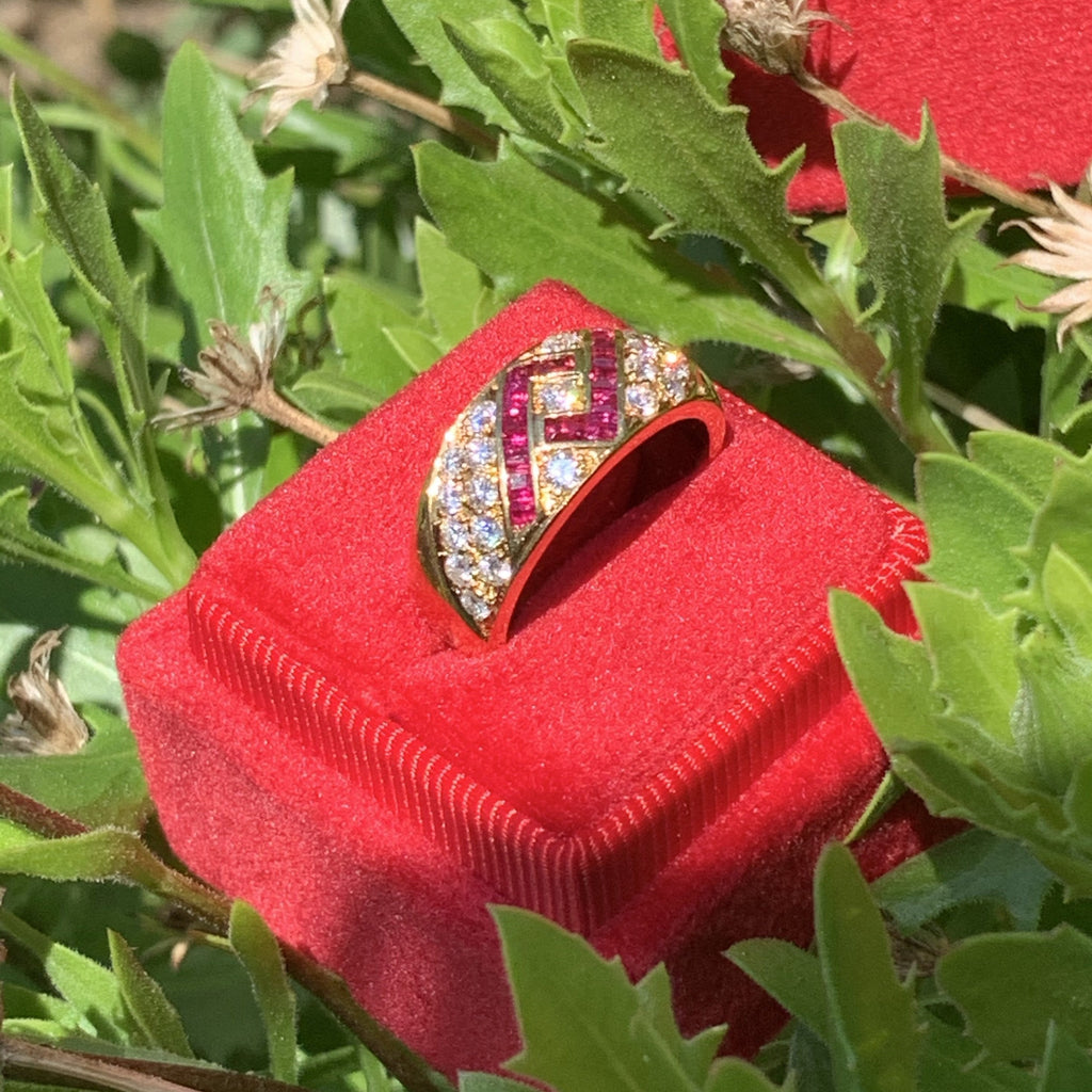 Ruby and Diamond Ring in 18K Gold