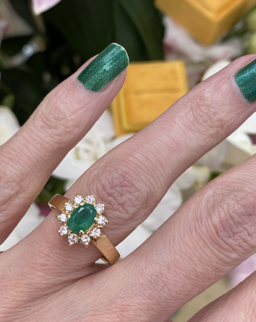 1.35 CTW Emerald and Diamond Halo Ring in 18ct Yellow Gold