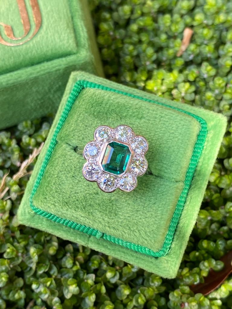 1.45 Emerald and Diamond Cluster Ring in Platinum