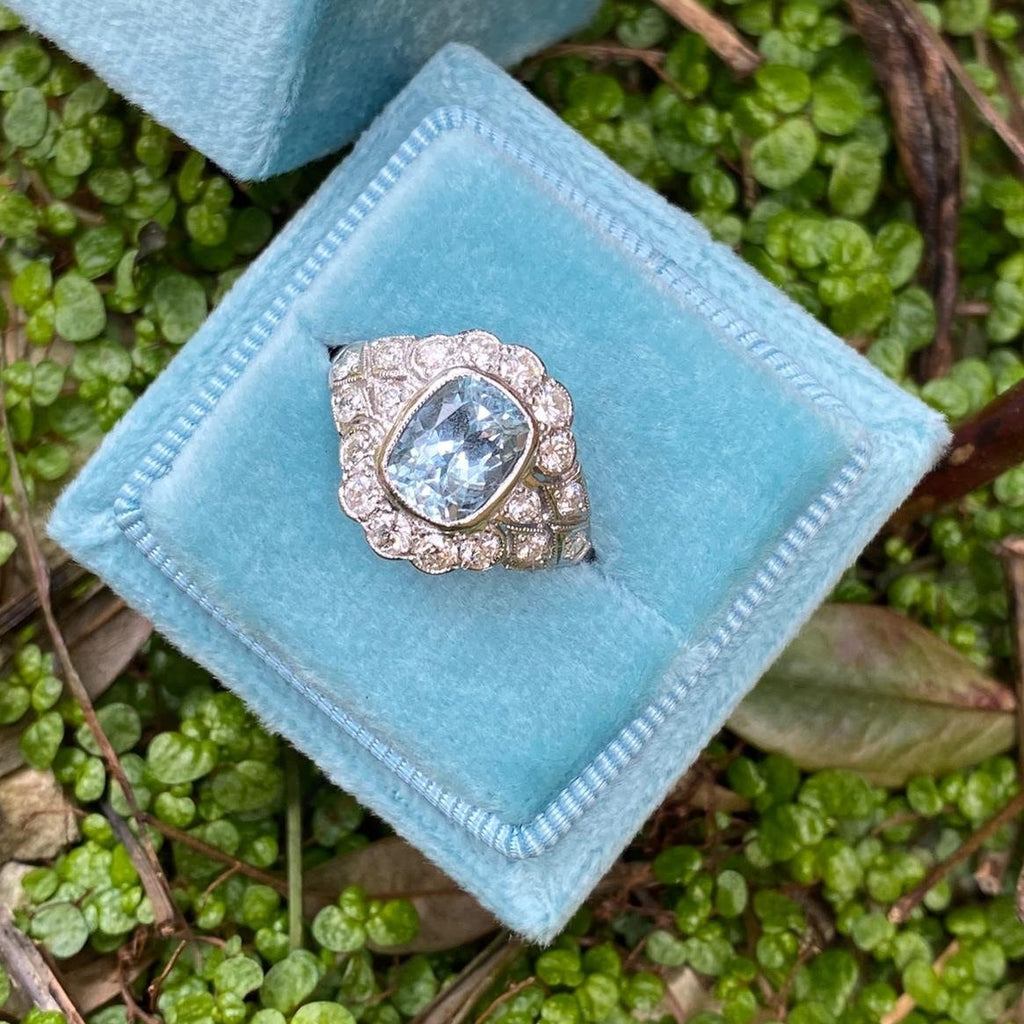 1.50 Carat Aquamarine and Diamond Art Deco Ring in Platinum