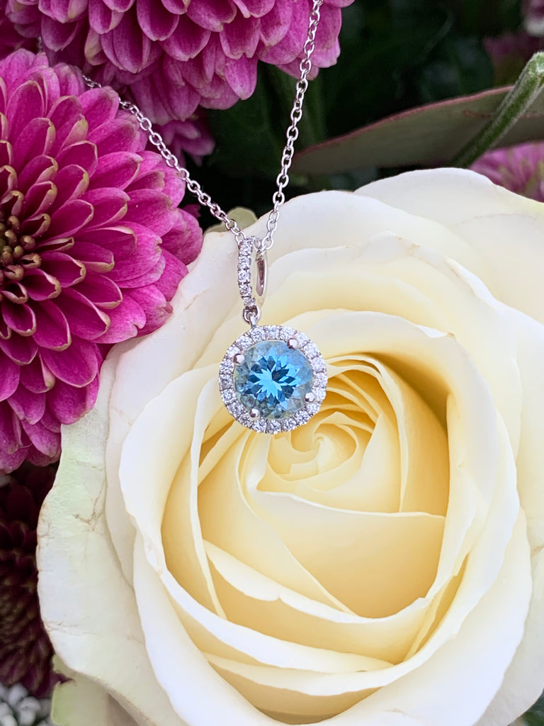 1.25 Carat Aquamarine and Diamond Necklace in 18K White Gold