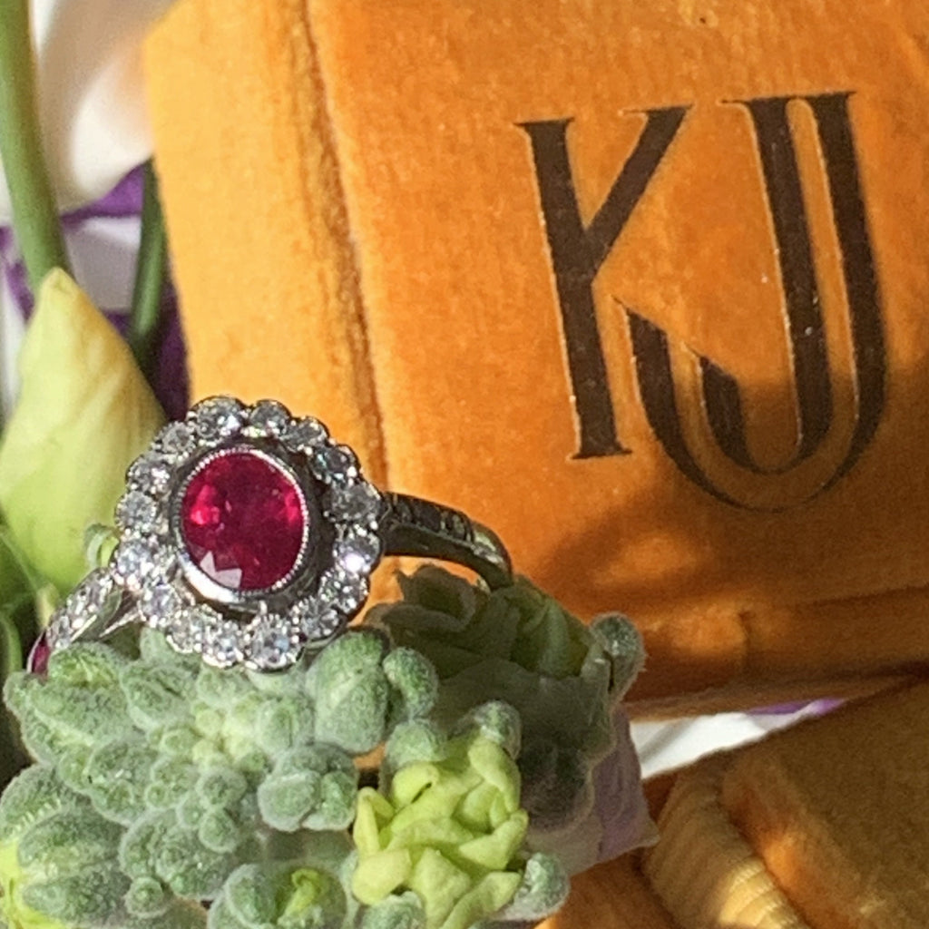 Katherine James Jewellery Oval Ruby and Diamond Halo Engagement Ring