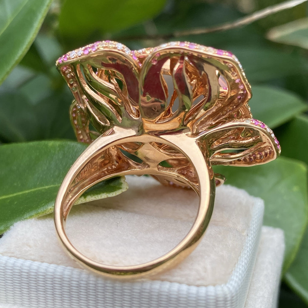 Rose Quartz Flower Ring with Pink and Yellow Sapphires and Diamonds in Rose Gold