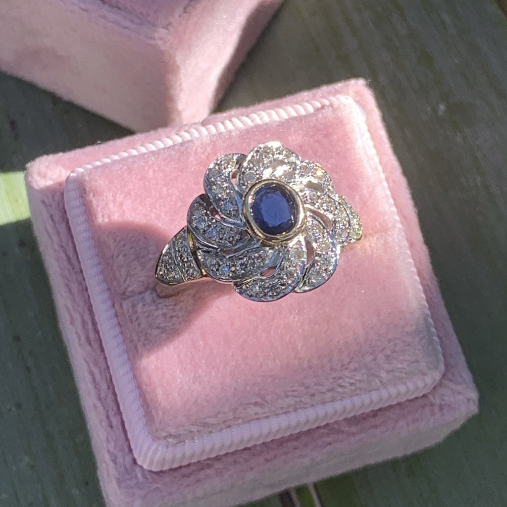 .90 CTW Blue Sapphire and Diamond Halo Ring