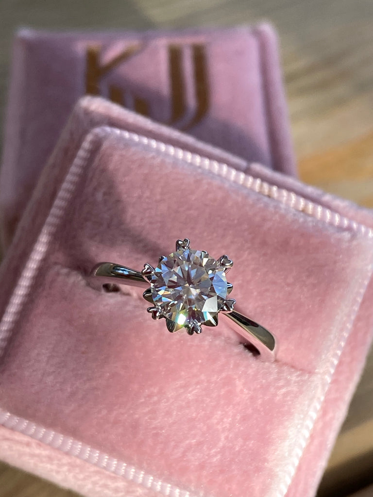 1.00 Carat Moissanite Engagement RIng in Sterling Silver