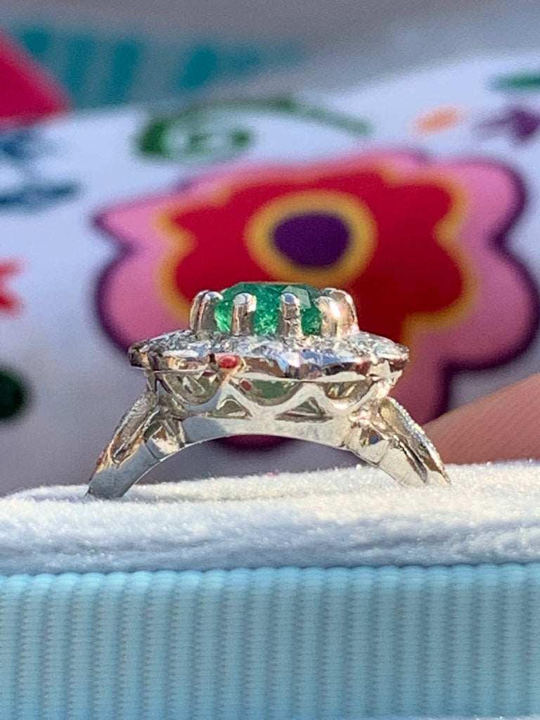 1.01 Carat Emerald and Diamond Ring in Platinum
